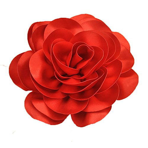 Queenestar Big Satin Flower Hair Clip for Bride Red Wedding Floral Headwear (Red)