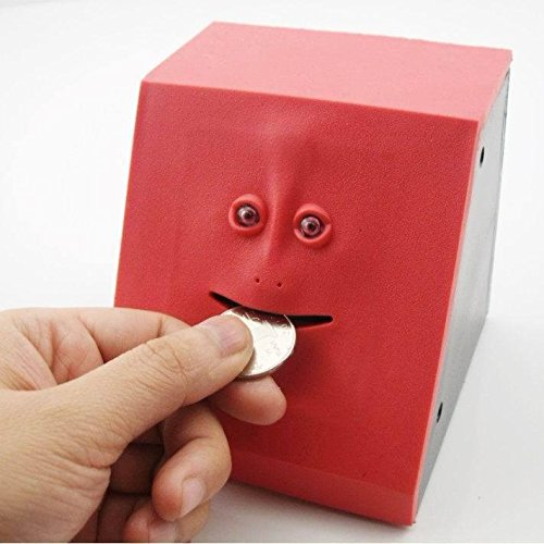 Coin Bank Eco-Home Money Eating Money Wrappers Battery Powered Face Monkey Saving Box - Blue (Red) Photo #4