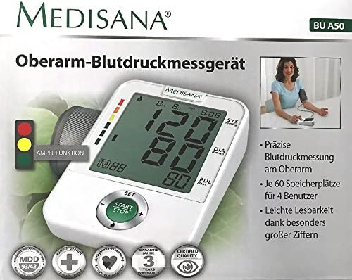 Medisana BU A50 brazo Tensiómetro 4 usuarios Digital Pantalla grande con función de semáforo