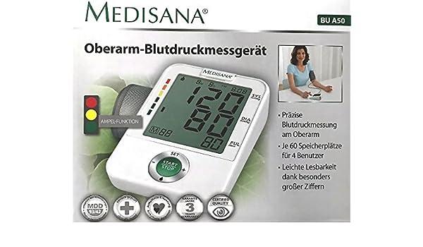 Medisana BU A50 brazo Tensiómetro 4 usuarios Digital Pantalla grande con función de semáforo: Amazon.es: Salud y cuidado personal