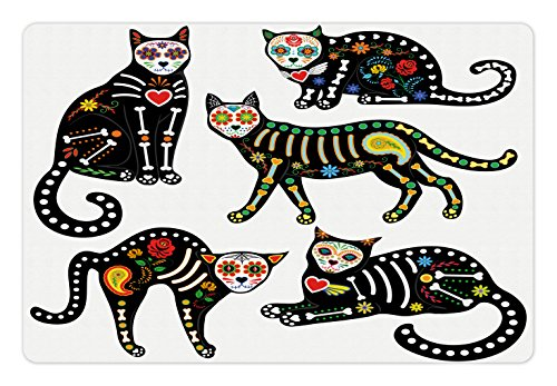 Ambesonne Sugar Skull Pet Mat for Food and Water, Calavera Inspired Ornate Black Cats Mexican Style Holiday The Day of The Dead, Non-Slip Rubber Mat for Dogs and Cats, 18