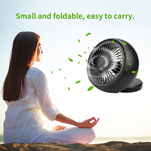 Mini USB Fan, Throne 6 Portable Desk Fan w/USB and Battery Dual Power Supply, Angle Adjustable and Low Noise, Silent Cooling Fan for Home, Office with Powerful Airflow (Black) by WolfArya (Image #4)