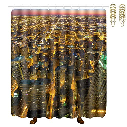 (Stalls and Bathtubs Shower Curtain Water-Repellent Shower Curtain 12 Hooks Included Hotel Curtain Liner - 70 X 70 Inches, USA Chicago Skyline Night)