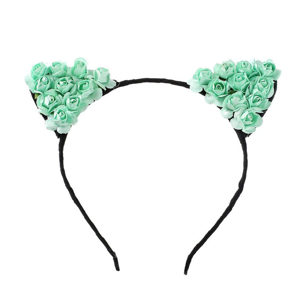 DARLING HER Children Girls Flower Cat Ears Cute Hair Accessories Headwear Boho Style Hairbands Headband Cat Hairband
