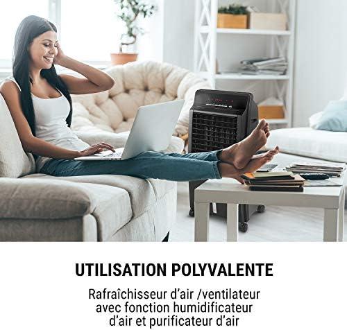 OneConcept CTR-1 - Rafraîchisseur d'air, Ventilateur, Humidificateur d'air, 3 Vitesses, 400m³/h, Réservoir d'eau de 8 litres, Filtre Anti-poussière, Télécommande, Minuterie - Noir