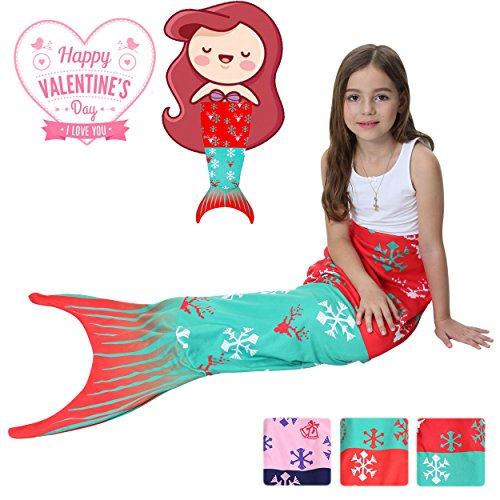 Mermaid Tails Blanket For Girls Christmas gift Flannel Soft Warm All Seasons Sleeping Bags Best Great Gift for Friends family Apply to Bedroom Sofa Beach outdoor (B-snowflake)