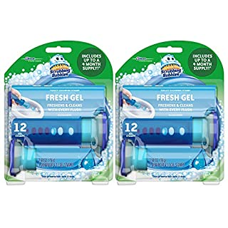 Scrubbing Bubbles Fresh Gel Toilet Bowl Cleaning Stamps, Gel Cleaner, Helps Prevent Limescale and Toilet Rings, Rainshower Scent, 12 Stamps- Pack of 2 (24 Total Stamps)