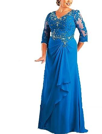 Blevla Half Sleeves The Mother of Bride Dress Prom Dresses Blue US 2
