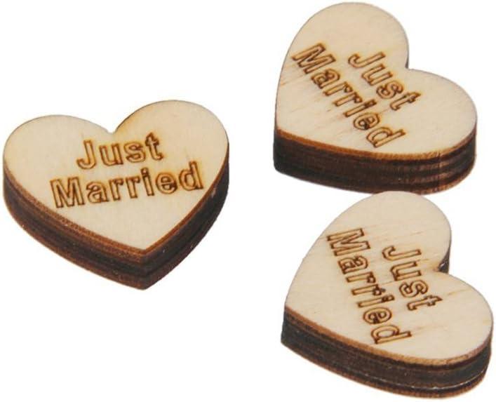PIXNOR 50pcs Embellissement Forme de Coeur en Bois pour Artisanat D/écoration de Mariage(Just Married)
