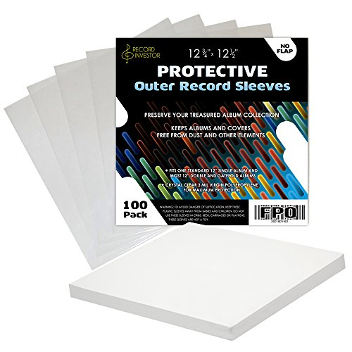 Outer Vinyl Record Sleeves by Record Investor, 100 Pack Crystal Clear 3 Mil Poly Cover Fits 12 Single, and Gatefold Albums, Durable LP Jacket Protector Sleeve