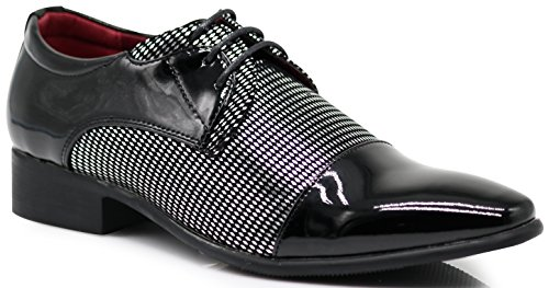 NVK Men's Colonial Spectator Two Tone Cap Toe Oxfords Lace Up Dress Shoes (12, Silver) -