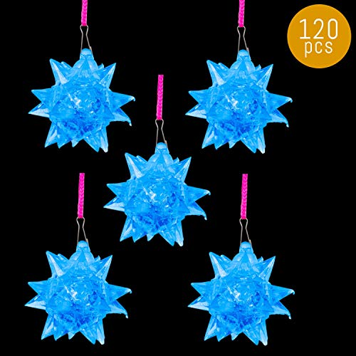 Lumistick LED Light-Up Blinking Crystal Star Necklace 3 Inch | Ultra Bright Ornament Spiky Balls Rave Pendants | Gleaming Multicolor Glowing Neckwear (Blue, 120 Necklaces)