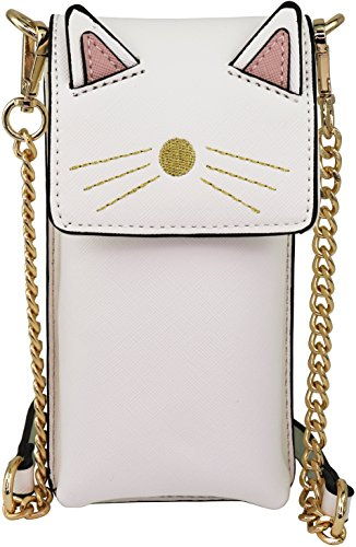 B BRENTANO Vegan Saffiano Leather Cat Cellphone Pouch Crossbody Purse (White) (B Cell)
