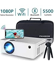 """1080P HD Projector, WiFi Projector Bluetooth Projector, Fangor 5500 Lumen 200"""" Portable Movie Projector, Compatible with TV Stick, HDMI, VGA, USB, Laptop, iPhone Android for PowerPoint Presentation"""