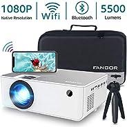 "1080P HD Projector, WiFi Projector Bluetooth Projector, Fangor 5500 Lumen 230"" Portable Movie Projector,"