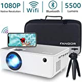 "1080P HD Projector, WiFi Projector Bluetooth Projector, Fangor 5500 Lumen 200"" Portable Movie Projector, Compatible with TV Stick, HDMI, VGA, USB, Laptop, iPhone Android for PowerPoint Presentation"