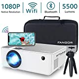 "1080P HD Projector, WiFi Projector Bluetooth Projector, Fangor 5500 Lumen 200"" Portable Movie Projector, Compatible with TV Stick, HDMI, VGA, USB, Laptop, iPhone Android for PowerPoint Presentation: more info"