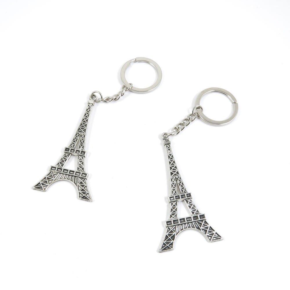 100 Pieces Keychain Door Car Key Chain Tags Keyring Ring Chain Keychain Supplies Antique Silver Tone Wholesale Bulk Lots G7OY5 Paris Eiffel Tower