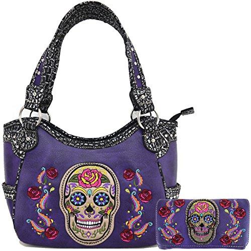 bandoulière à purple combo Sac Messenger Skull Black Sac à main AqwB5H