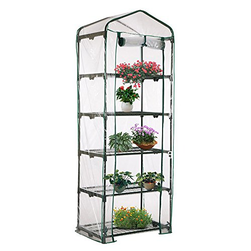Enjoygous 5 Tier Mini Greenhouse PVC Covers Replacement, Transparent Walk-in Plant Green House Growbag Plastic Stands Cover Protector for Flower Garden Outdoor – 28 L x 19 W x 69 H