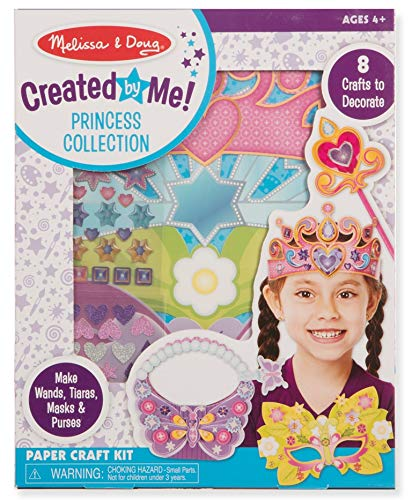 Melissa & Doug 92149 Created by Me! Princess Collection Paper Craft Kit (2 Tiaras, 2 Masks, 2 Purses, 2 Wands), Multicolor ()