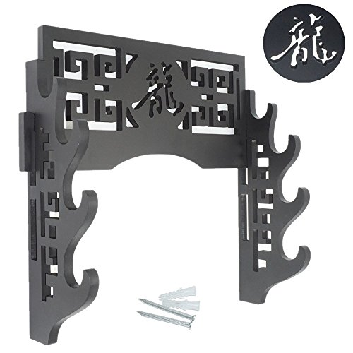 Eforlife Sword Holder Wall Mount Samurai Sword Display Stand Sword Bracket Hanger for Katana Wakizashi and Standard Swords 龍-Dragon (4-Tier) - Martial Arts Weapons Rack