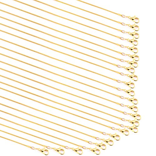 - Forise 24 Pack Gold Plated 1.2 mm Snake Chains Necklace with Lobster Clasps for Jewelry Making,18 Inch and 20 Inch