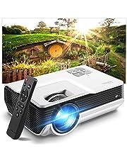 Iolieo Mini Proyector, Compatible con HD 1080P Proyector Casero, Proyector de cine en casa Portátil de dos Altavoces, Pantalla de 200 Pulgadas y 50.000 horas de Vida LED, Compatible con USB, HDMI, VGA, TF, PS4, Portátil, DVD