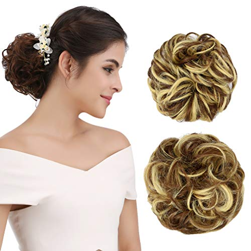 Extension Wig Hairpiece - REECHO Women's Thick 2PCS Curly Wavy Updo Hair Bun Extensions Messy Hairpieces - Light Golden Brown with Blonde Highlights