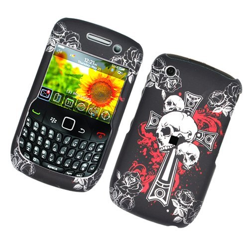 Faceplates Blackberry - Black Cross Skull Snap on Rubberized Hard Skin Faceplate Cover Case for Blackberry Curve 8520 / 8530 / 9300