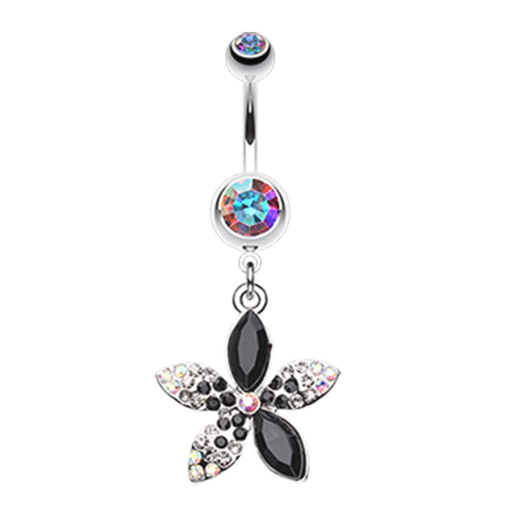 Inspiration Dezigns Belly Button Navel Ring Curved Barbell Radiant Spring Beauty Flower 14G Surgical Steel