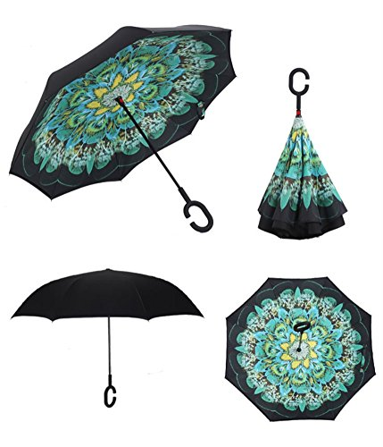 YoCozy Peacock Umbrella Inverted Double Layer Windproof with C-Shaped Handle Anti-UV Windproof Perfect Umbrella for Car Rain Sun Outdoor Use