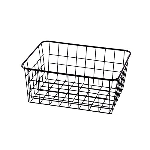 Sturdy Small Wire Storage Basket with Kitchen Food Pantry Papers Home Office Desk Shelf Bathroom Laundry Room Shelf Bedroom Bed Room ()