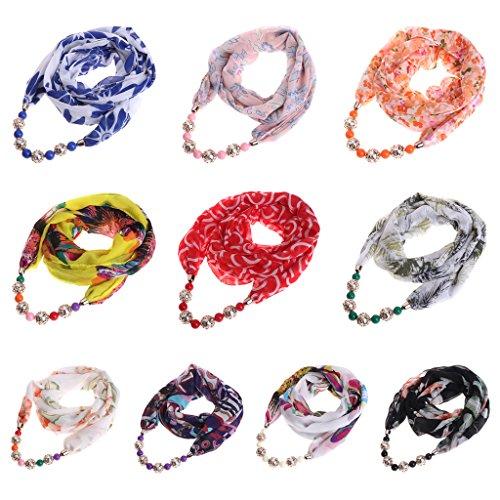 de joyería declaración Dabixx Colgante de étnica Bufanda Chiffon Mujer Vistoso Beads Wraps Colorido Collar 00aPWnS