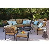 Darlee Elisabeth Cast Aluminum 8 Piece Deep Seating Conversation Set With  Cushions, Series 30 End Tables And Coffee Table, Antique Bronze Finish