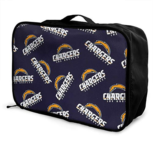Vdsmcsadczx NFL Cotton Broadcloth Los Angeles Chargers Navy FabricTravel Carry-on Bag Lightly Foldable Storage Carry Luggage Trolley Bags