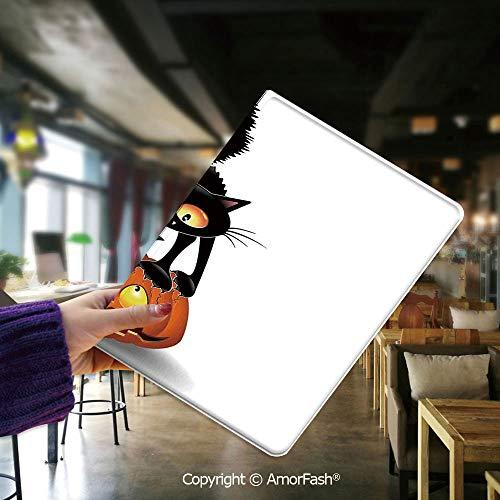 Samsung Galaxy Tab E 9.6 Case,T560 and T561,[Coloured Drawing Pattern],Halloween Decorations,Black Cat on Pumpkin Spooky Cartoon Characters Halloween Humor Art,Orange Black]()