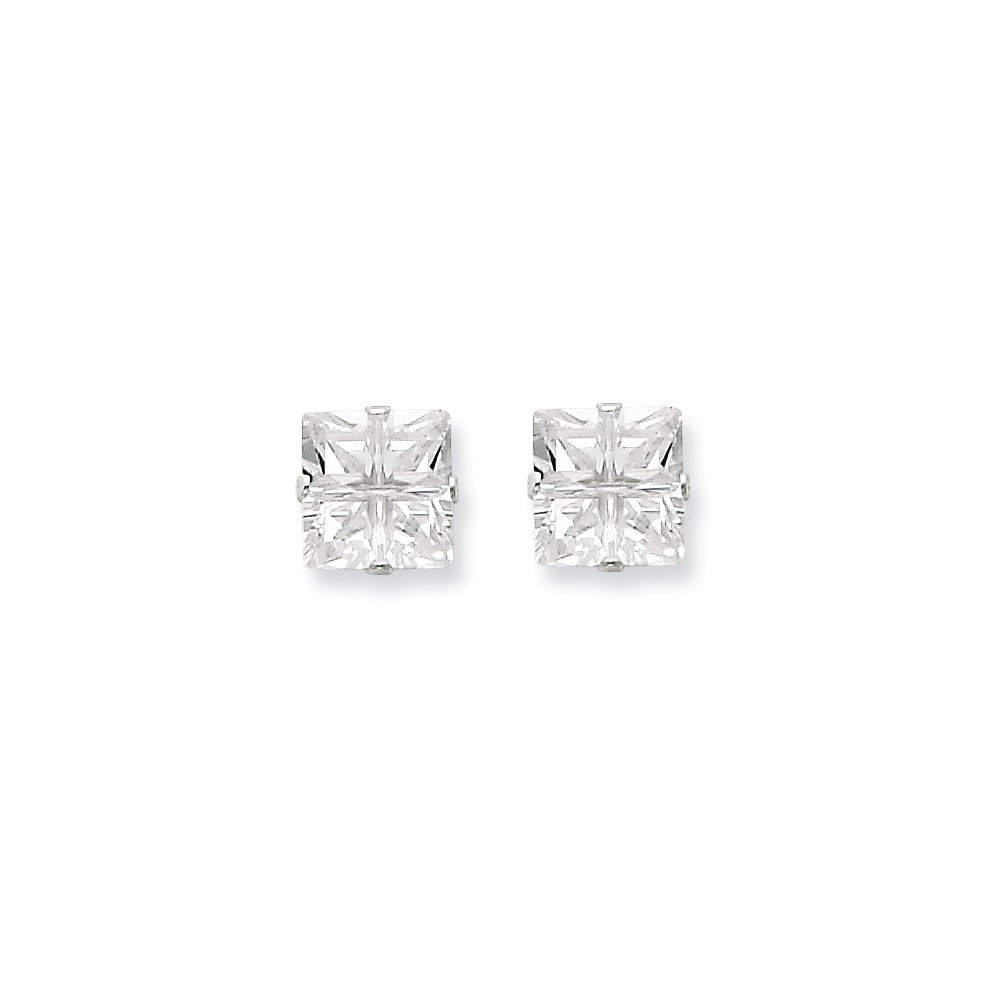 Goldia Sterling Silver 7mm Square CZ 4 Prong Stud Earrings