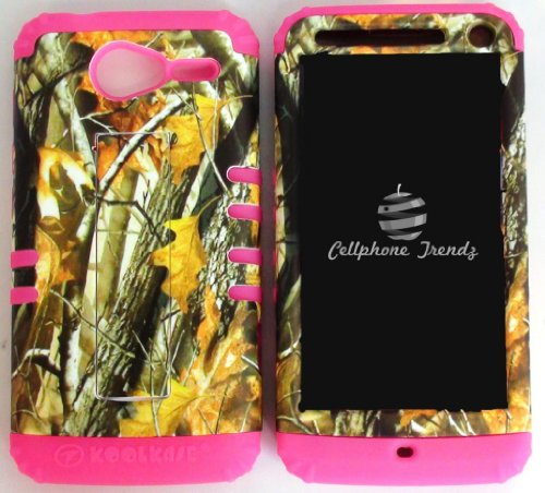 Cellphone Trendz Hybrid 2 in 1 Case Hard Cover Faceplate Skin Pink Silicone and Camo Mossy Hunter Oak Big Branch Snap Protector for Motorola Electrify M XT901 + Free Wristband - Motorola Hunter Faceplates