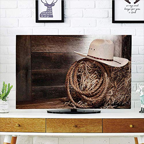 YCHY LCD TV Cover Multi Style,Western,American West Rodeo Hat with Traditional Ranching Robe on Wooden Ground Folk Art Photo Decorative,Brown Beige,Customizable Design Compatible 55