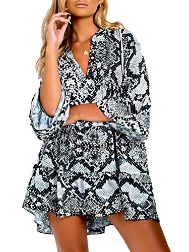 Women's Flare Sleeve Ruffle Hem Snake Skin Print Stretch Jersey Tunic Dress Mini T-Shirt Dress ()