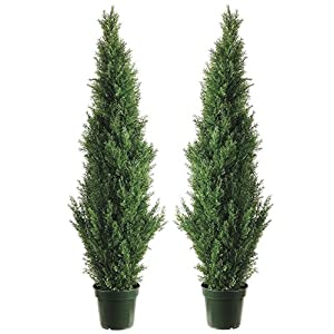 Silk Tree Warehouse Two 4 Foot Outdoor Artificial Cedar Topiary Trees Uv Rated Potted Plants 23
