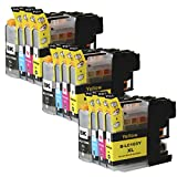 Toner Clinic ® TC-LC103 12PK 3 Black 3 Cyan 3 Magenta 3 Yellow Compatible Inkjet Cartridge for LC-101 LC-103 LC-103 XL LC-103BK, LC-103C, LC-103M, LC-103Y Compatible With Brother DCP-J132W DCP-J152W DCP-J172W DCP-J4110DW DCP-J552DW DCP-J752DW MFC-J245 MFC-J285DW MFC-J4310DW MFC-J4410DW MFC-J450DW MFC-J4510DW MFC-J4610DW MFC-J470DW MFC-J4710DW MFC-J475DW MFC-J650DW MFC-J6520DW MFC-J6720DW MFC-J6920DW MFC-J870DW MFC-J875DW - 12 Pack Compatible Inkjet Cartridges