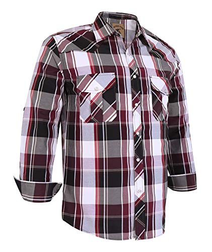 Light Purple Snap - Coevals Club Men's Long Sleeve Casual Western Plaid Snap Buttons Shirt (L, 20#red,purple)