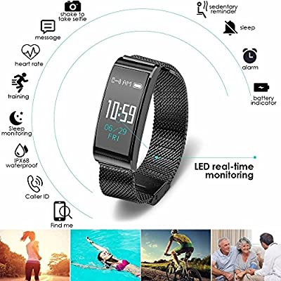IP68 Waterproof Fitness Tracker Watch Activity Fitness Watch with Heart Rate Monitor,Sleep Monitor,Blood Pressure Measure,Swimming Smart Pedometer Step Distance Calories Track,Camera Control (Black)