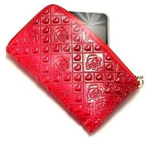 """""""Pasión"""" Rojo, Lujosa Billetera / Sostenedor en imitación de cuero acolchonado y con cierre para Bird D636. Auténtica Funda / Estuche con correa para transportar para teléfonos móviles."""