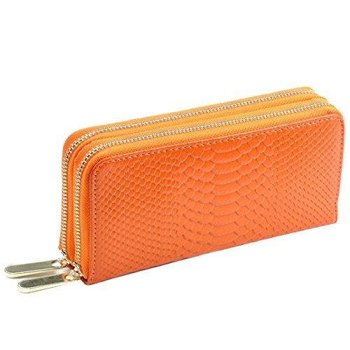 Ms Cremallera Doble Carpeta Patrón Del Cocodrilo De La Mano De Cuchara Multicolor Orange