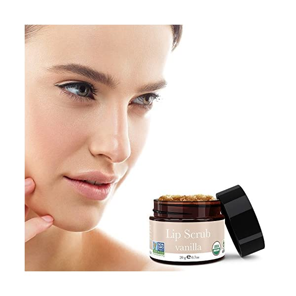 Organic Lip Scrub - Vanilla Sugar Scrub, Lip Scrubs Exfoliator & Moisturizer, Lip Care Exfoliating Scrub and Lip…