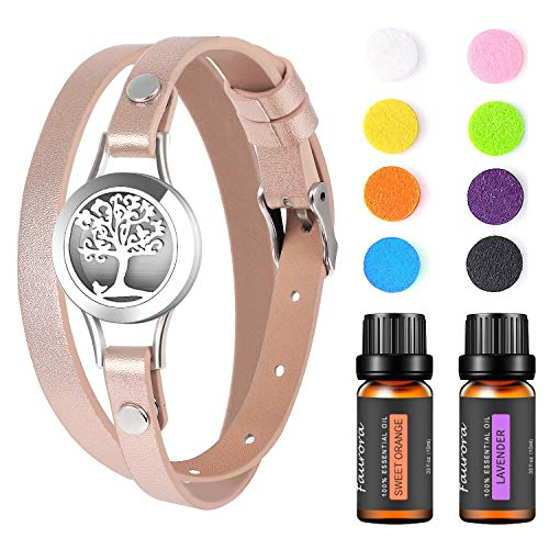 FAURORA Essential Oil Bracelet, Aromatherapy Diffuser Jewelry Stainless Steel Locket with 2 Aroma Oils, Christmas Birthday Anniversary Gift Set for Women, Girls, Mother(Rose Gold)