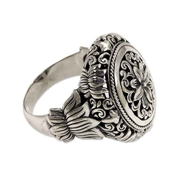 NOVICA-925-Sterling-Silver-Hand-Made-Floral-Cocktail-Ring-Precious-Lotus